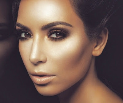 How To Highlight Contour Your Face with Makeup Bronze kim kardashian contoured face