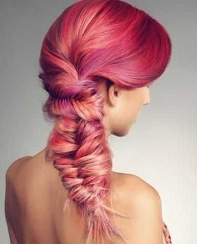 Pink Ombre Fishtail Braid