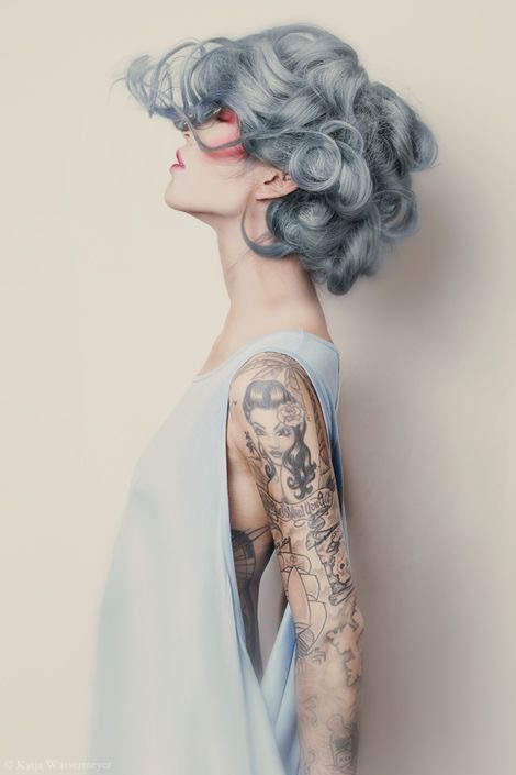 Pastel Blue Grey Hair on Model with Tattoos