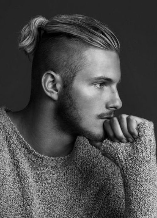 Undercut Mens Ponytail Hairstyle