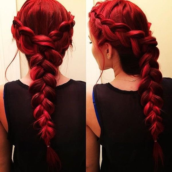 Vibrant Red Braided Hair