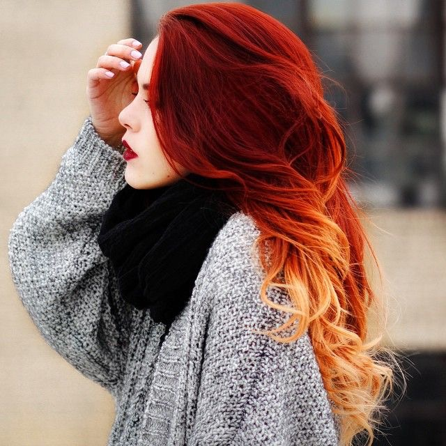 Red and copper flamboyage hairstyle