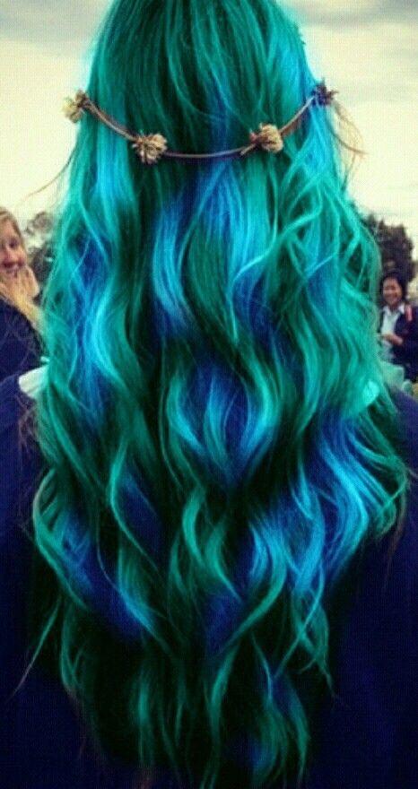 Blue and Green Hair Colour