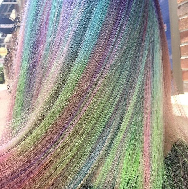 Pastel Rainbow Hair Colour