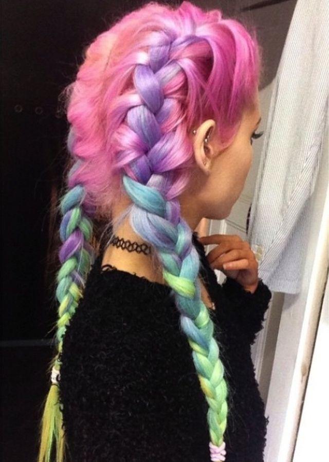 Rainbow hair colour braids