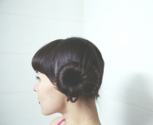 profile side bun hair