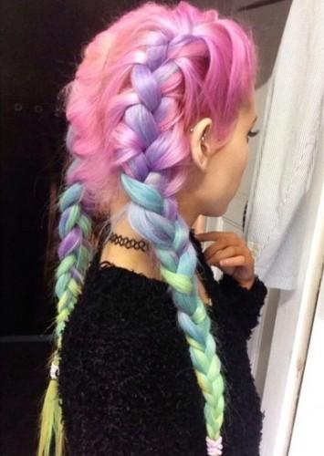 Rainbow Hair Double Braid