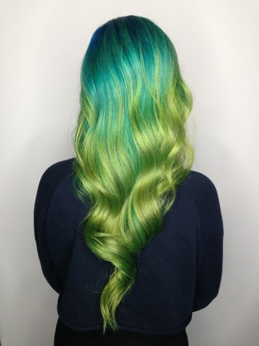 Green yellow balayage