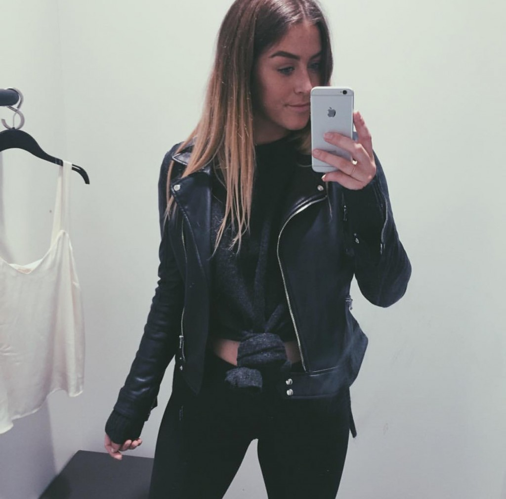 leather jacket fashion student fitting room selfie