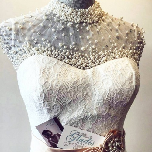wedding gown pearl beading detail neckline je vis