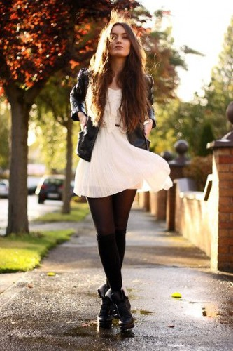 summer dress black tights