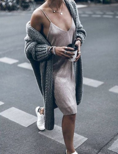 silk dress baggy sweater sneakers