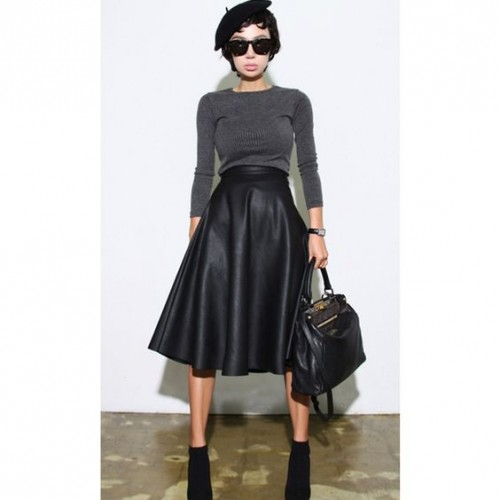 leather aline skirt grey sweater