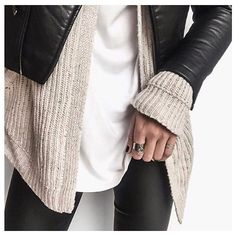 leather jacket layer sweater