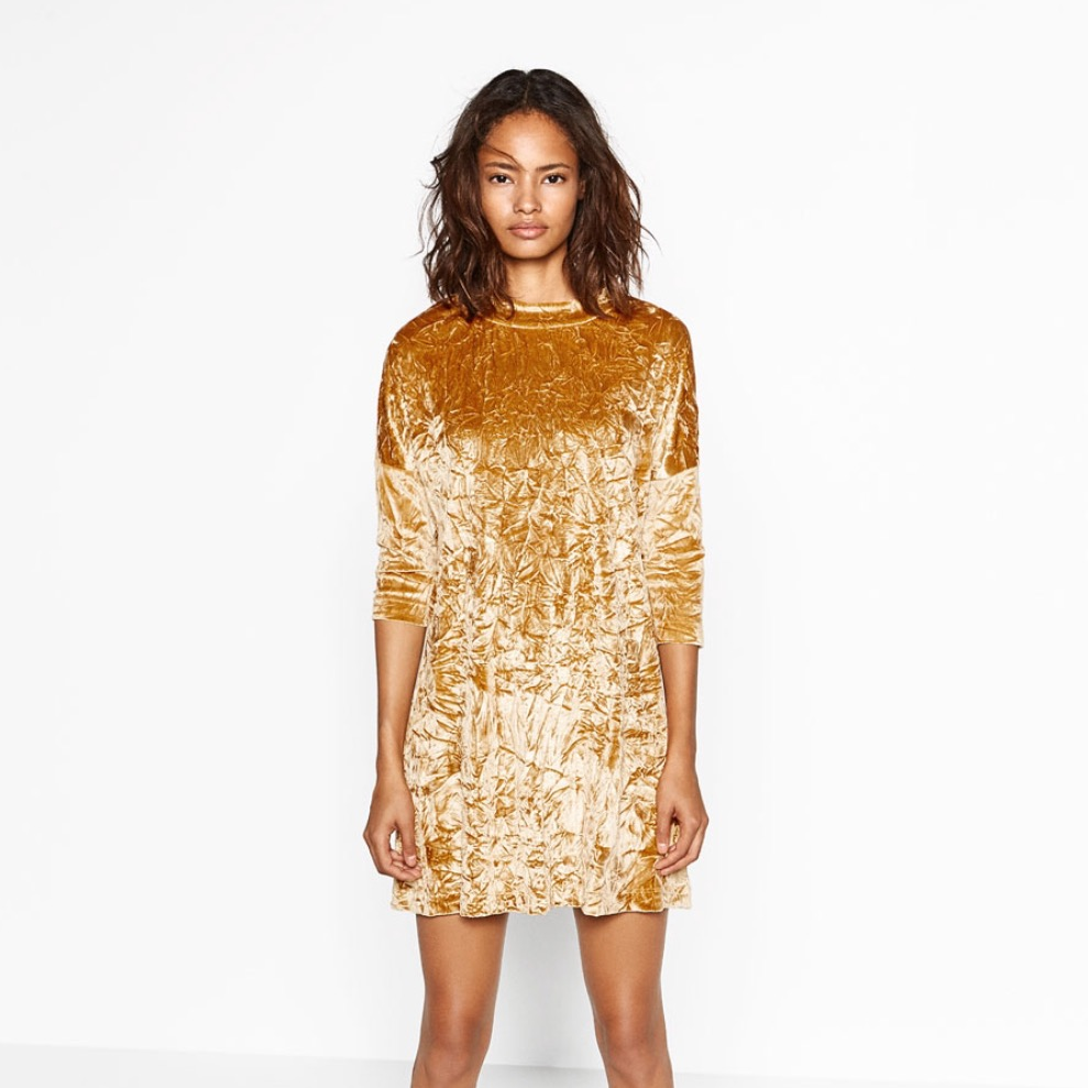 gold crushed velvet dress