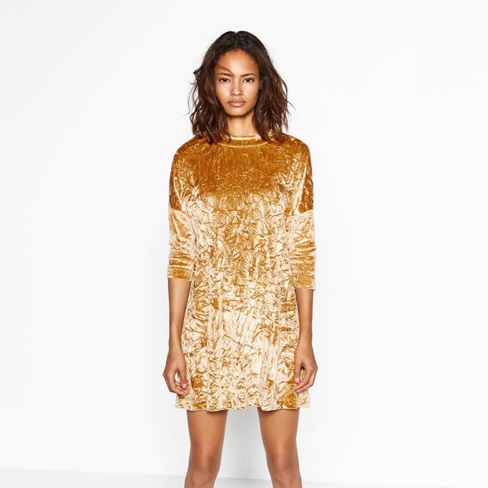 gold crushed velvet dress