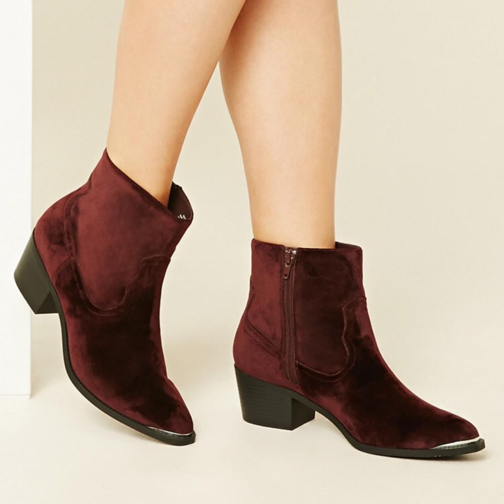 red velvet booties