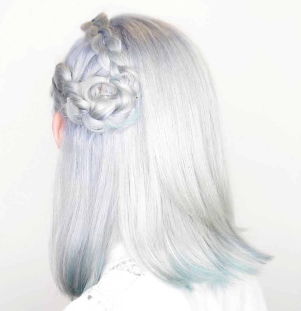 grey hair braided flower