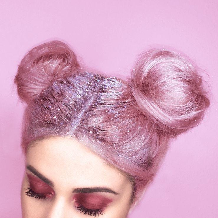 space buns glitter
