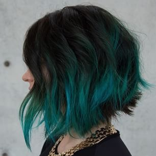 teal tips ombre