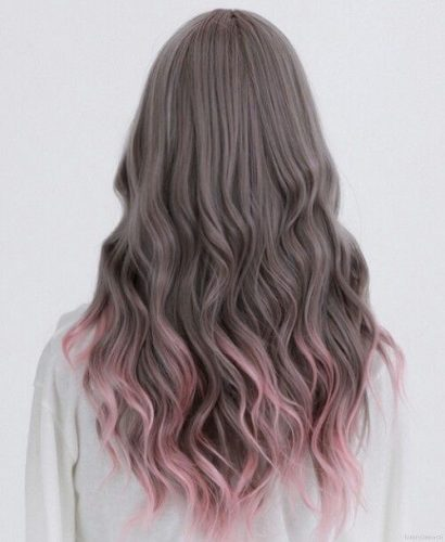 light pink pastel tips hair